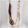 "Brass, Pearl, Brown Pendant, Silk Ribbon 32"" Necklace"