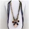 Brass Necklace with Blue, Gold, White, Purple Charms
