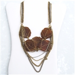 Brass Chain Amber Bead Bib Necklace