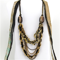 Brass Multi-Strand Chain with Black and Bone Bead Bib Necklace