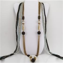 Brass Chain, Bone and Brown Bead Necklace