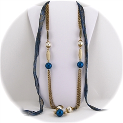 Brass Chain, Bone and Blue Bead Necklace