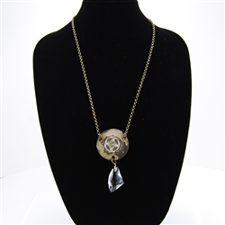 Antiqued Metal Vintage Chandelier Crystal Necklace