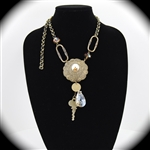 Antique Brass Amber Crystal Key Coin Pendant Necklace