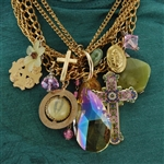 Gold Cross Multi-Charm Saint Pendant Collage Necklace