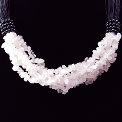 Rose Quartz Necklace on Black Cord