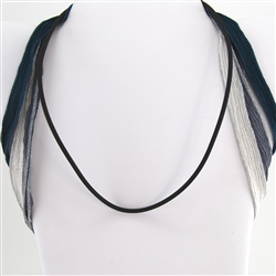 "Black Rubber 18"" Plain Cord SS 925 Clasp Necklace"