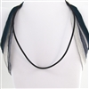 "Black Rubber 16"" Cord SS 925 Clasp Necklace"
