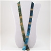 "Blue, Green and Gold Silk 36"" Ribbon Necklace"