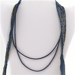 "Blue Leather 20"" Cord Necklace"