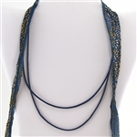 Blue Leather Cord Necklace 16""