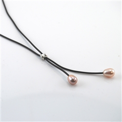 Pink Pearls on Black Rubber Lariat Necklace