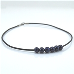 Black Pearls on Black Leather Choker Necklace