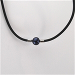 Black Pearl Choker Necklace with Black Rubber Cord