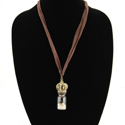 Glass Vial of Pearls with Crystal Crown Pendant Necklace