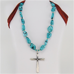 Turquoise Gold Silver Cross Pendant Necklace