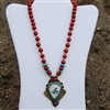 Tibetan Pendant Necklace Turquoise Coral Conch Shell Lapis Good Health Symbol