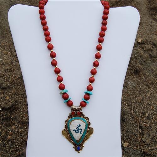 Tibetan pendant necklace turquoise coral lapis fashionjewelry kingman turquoise coral conch lapis tibetan health long life pendant aloadofball Images