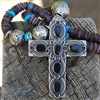 Purple Spiny Oyster Kingman Turquoise Black Onyx Cross Necklace