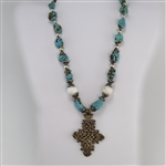 Kingman Turquoise & Conch Shell African Cross Pendant Necklace