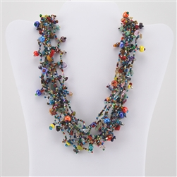 Czech Glass Bead Multi Stone Multi Strand Necklace