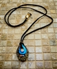 Blue, Black & Gold Murano Glass Pendant Necklace