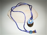 Light Blue, Lavender & Gold Murano Glass Pendant Necklace
