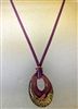 Purple & Gold Murano Glass Pendant Neclace