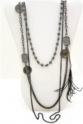 Black Vintage Style Bead and Charm Necklace