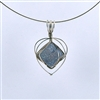 Blue Drusy Silver Wire Wrapped Pendant
