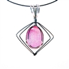 Pink Drusy Silver Wire Wrapped Pendant