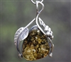 Ornate Green-Gold Baltic Amber Pendant with Grapes and Leaves
