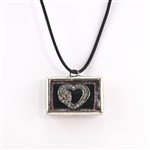 Crystal Glitter Heart Shadow Box Pendant