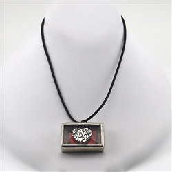 Glitter Heart Silver Red Shadow Box Pendant