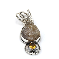 Drusy Citrine and Smoky Topaz Silver Pendant