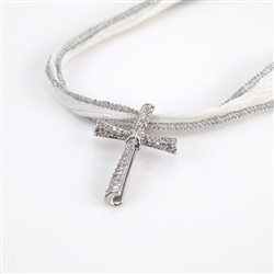 Cubic Zirconia Rolled Silver Cross Pendant