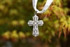 Cubic Zirconia Lacy Silver Cross Pendant
