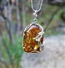 Ornate Silver and Baltic Amber Pendant