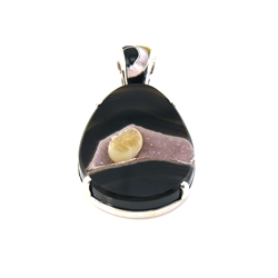 Banded Agate, Drusy, Onyx, Mother of Pearl and Lip Shell Sterling Silver Pendant