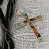 Green Turquoise, Onyx, Coral and  Sterling Silver Cross Pendant