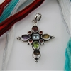 Sterling Silver and Semi-Precious Stones Cross Pendant