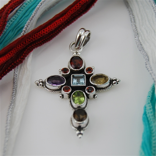 Silver and semi precious stones cross pendant sterling silver and semi precious stones cross pendant mozeypictures Images