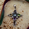 Sterling Silver, Semi-Precious Stones and Pearl Cross Pendant