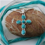 Tibetan Turquoise Sterling Silver Cross Pendant