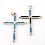 Opal, Black Onyx, Turquoise and Sterling Silver Cross Pendant