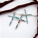Turquoise, Opal, Coral, Jade, Lapis and Sterling Silver Cross Pendant