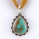 Pendentif larme en argent sterling turquoise tibétain