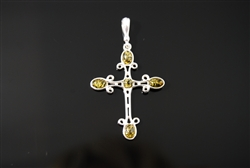 Baltic Amber and Sterling Silver Celtic Cross Pendant