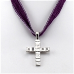 Cubic Zirconia and White Gold Bonded Cross Pendant