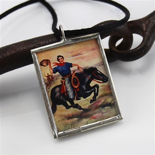 Cowboy horse vintage style retro pendant fashionjewelry cowboy on horse vintage style retro pendant mozeypictures Images